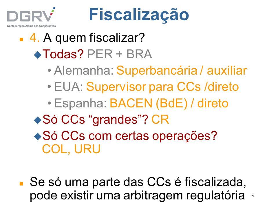 9 Fiscalização n 4. A quem fiscalizar? u Todas? PER + BRA Alemanha: Superbancária / auxiliar EUA: Supervisor para CCs /direto Espanha: BACEN (BdE) / d