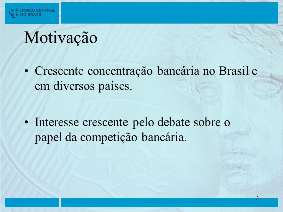 Clique para editar o estilo do título mestre Clique para editar os estilos do texto mestre Segundo nível Terceiro nível Quarto nível Quinto nível 3 3 Motivação Crescente concentração bancária no Brasil e em diversos países.