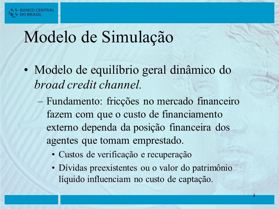 Clique para editar o estilo do título mestre Clique para editar os estilos do texto mestre Segundo nível Terceiro nível Quarto nível Quinto nível 4 4 Modelo de Simulação Modelo de equilíbrio geral dinâmico do broad credit channel.