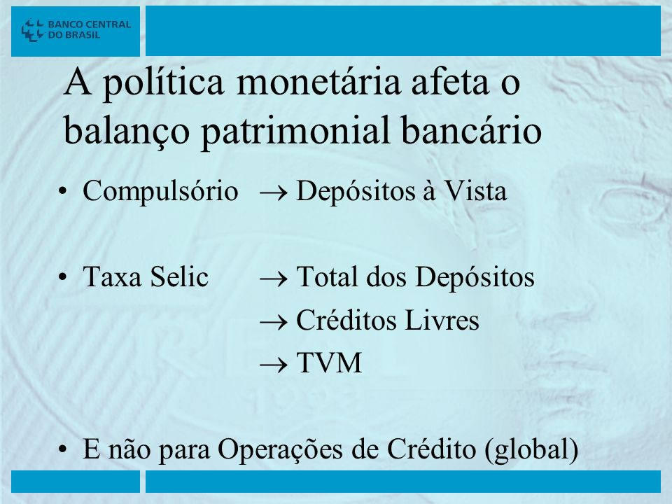 A política monetária afeta o balanço patrimonial bancário Compulsório Depósitos à Vista Taxa Selic Total dos Depósitos Créditos Livres TVM E não para