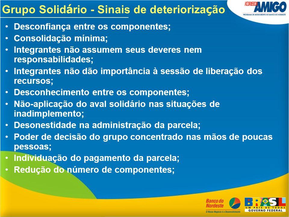 Grupo Solid á rio - Sinais de deterioriza ç ão Desconfiança entre os componentes; Consolidação mínima; Integrantes não assumem seus deveres nem respon