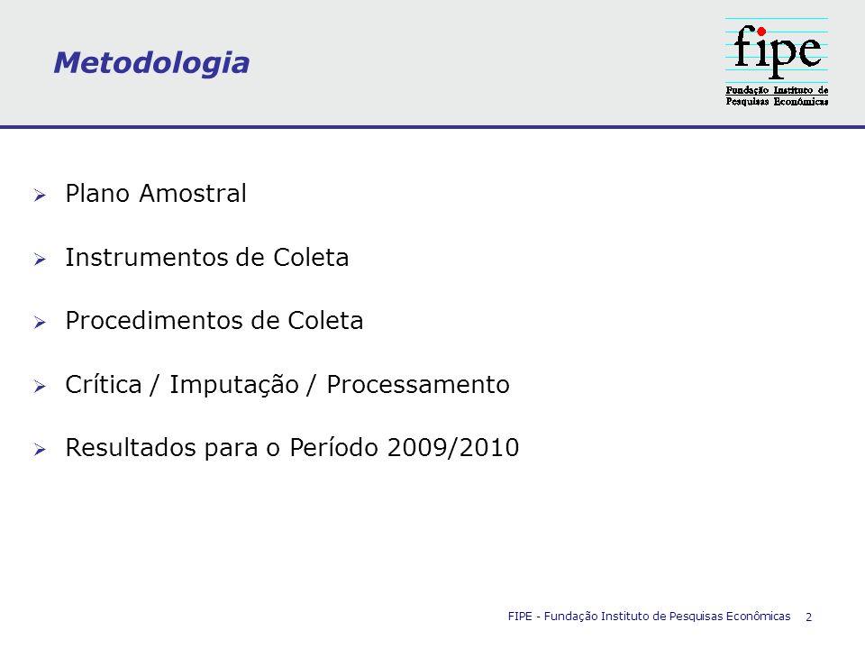 FIPE - Fundação Instituto de Pesquisas Econômicas 2 Metodologia Plano Amostral Instrumentos de Coleta Procedimentos de Coleta Crítica / Imputação / Pr