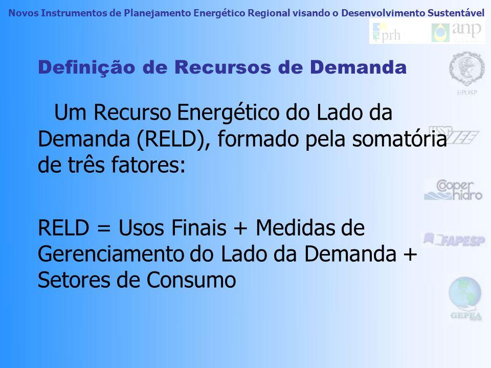 Novos Instrumentos de Planejamento Energético Regional visando o Desenvolvimento Sustentável O que é Recurso de Demanda (RELD) Usos Finais Medidas de Gerenciamento Recursos definidos para a RAA Valores de energia para os recursos da RAA.