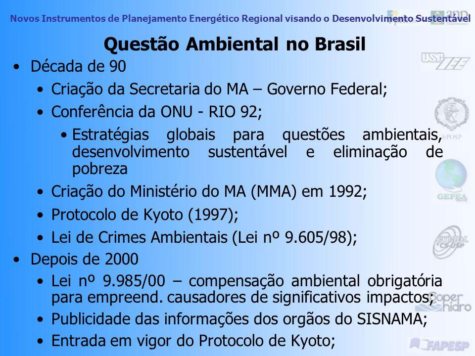 Novos Instrumentos de Planejamento Energético Regional visando o Desenvolvimento Sustentável Questão Ambiental no Brasil Década de 70 Agravamento de p