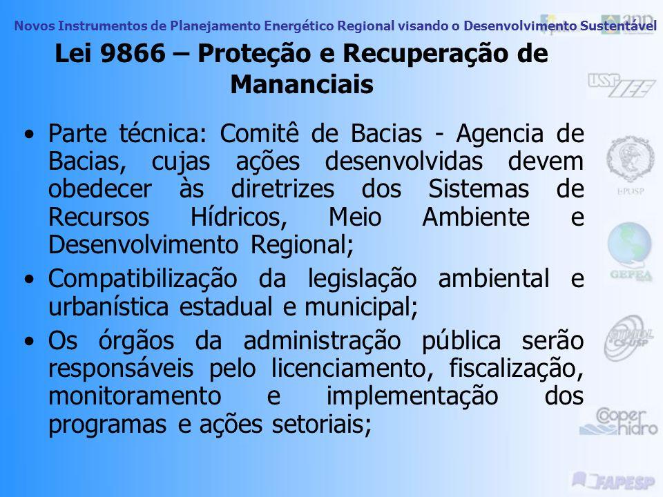 Novos Instrumentos de Planejamento Energético Regional visando o Desenvolvimento Sustentável Lei 9866 – Proteção e Recuperação de Mananciais A APRM de