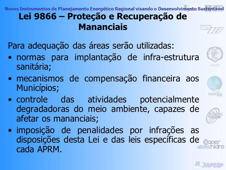 Novos Instrumentos de Planejamento Energético Regional visando o Desenvolvimento Sustentável Lei 9866 – Proteção e Recuperação de Mananciais Parte téc