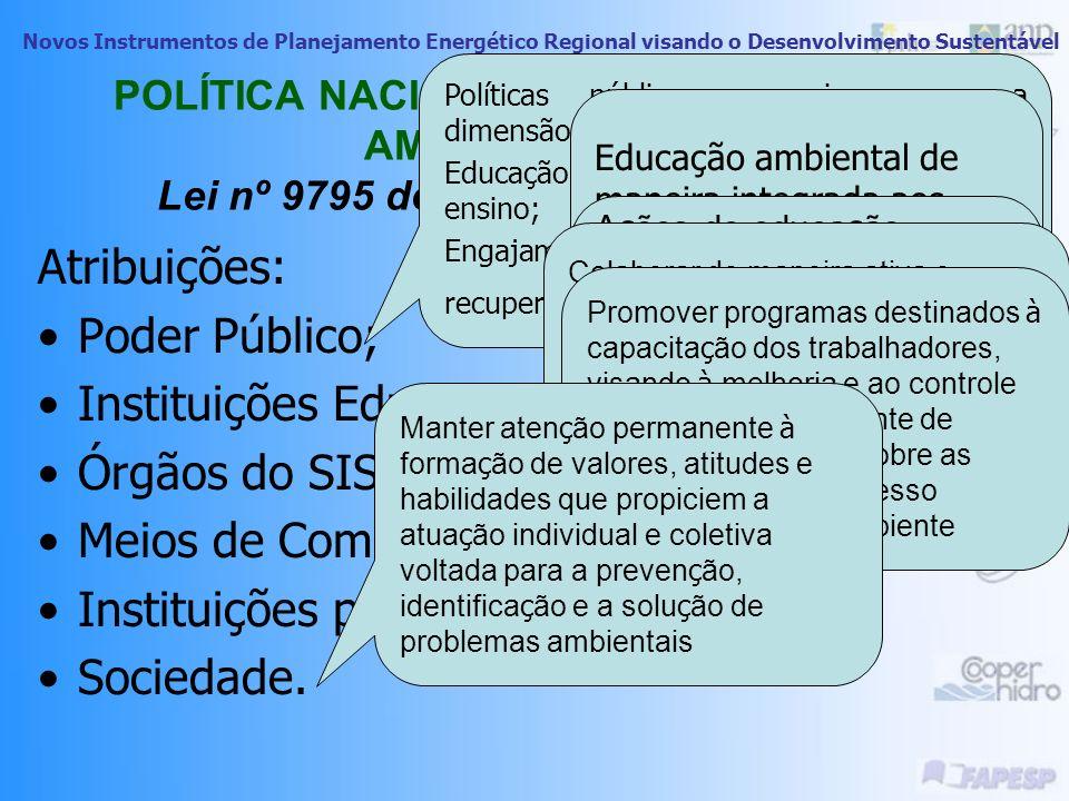 Novos Instrumentos de Planejamento Energético Regional visando o Desenvolvimento Sustentável POLÍTICA NACIONAL DE EDUCAÇÃO AMBIENTAL Lei nº 9795 de 27