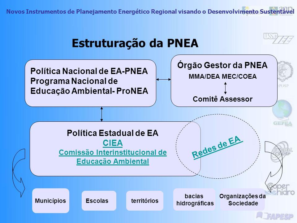Novos Instrumentos de Planejamento Energético Regional visando o Desenvolvimento Sustentável Educação ambiental no Brasil Política Nacional de Educaçã
