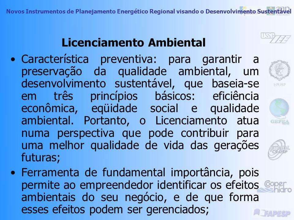 Novos Instrumentos de Planejamento Energético Regional visando o Desenvolvimento Sustentável Licenciamento Ambiental Procedimento pelo qual o órgão am