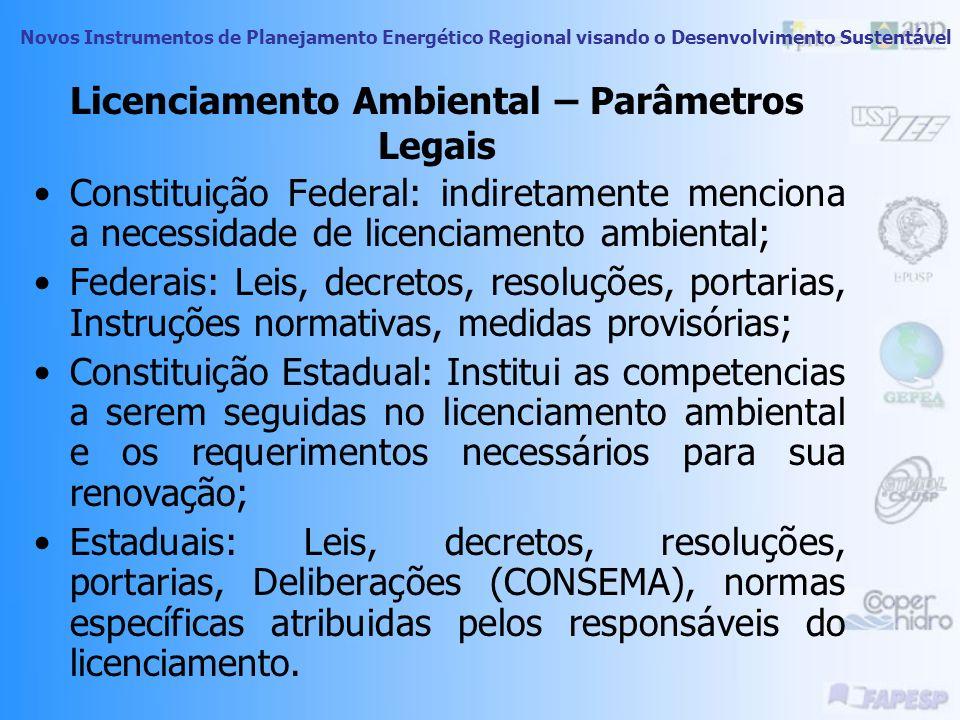 Novos Instrumentos de Planejamento Energético Regional visando o Desenvolvimento Sustentável Licenciamento Ambiental Característica preventiva: para g