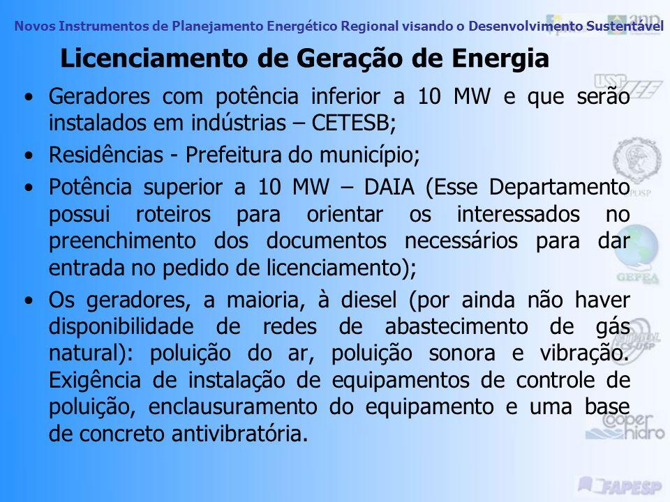 Novos Instrumentos de Planejamento Energético Regional visando o Desenvolvimento Sustentável Órgãos responsáveis pelo Licenciamento Vinculados a Secre