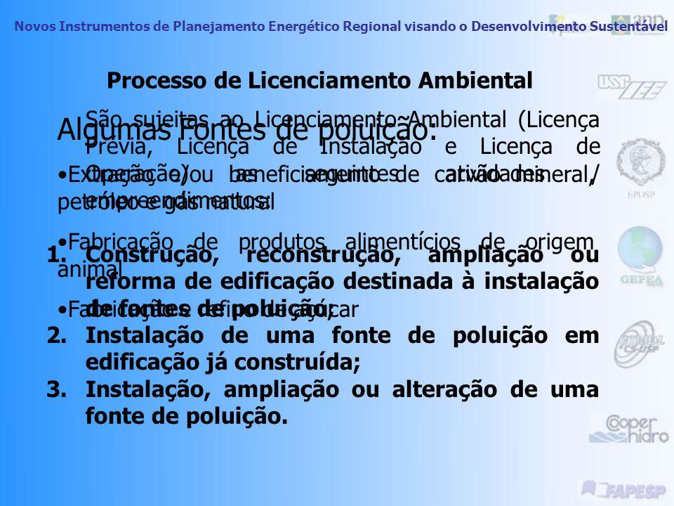 Novos Instrumentos de Planejamento Energético Regional visando o Desenvolvimento Sustentável Licenciamento de Geração de Energia Geradores com potênci