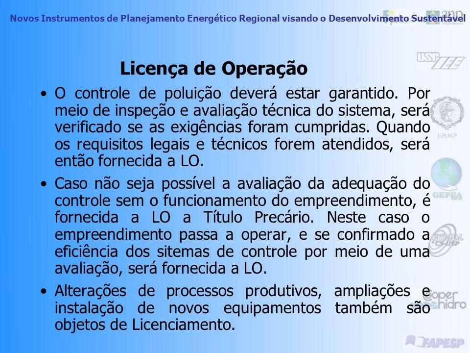 Novos Instrumentos de Planejamento Energético Regional visando o Desenvolvimento Sustentável Licença de Operação De posse da LI, o empreendedor está l