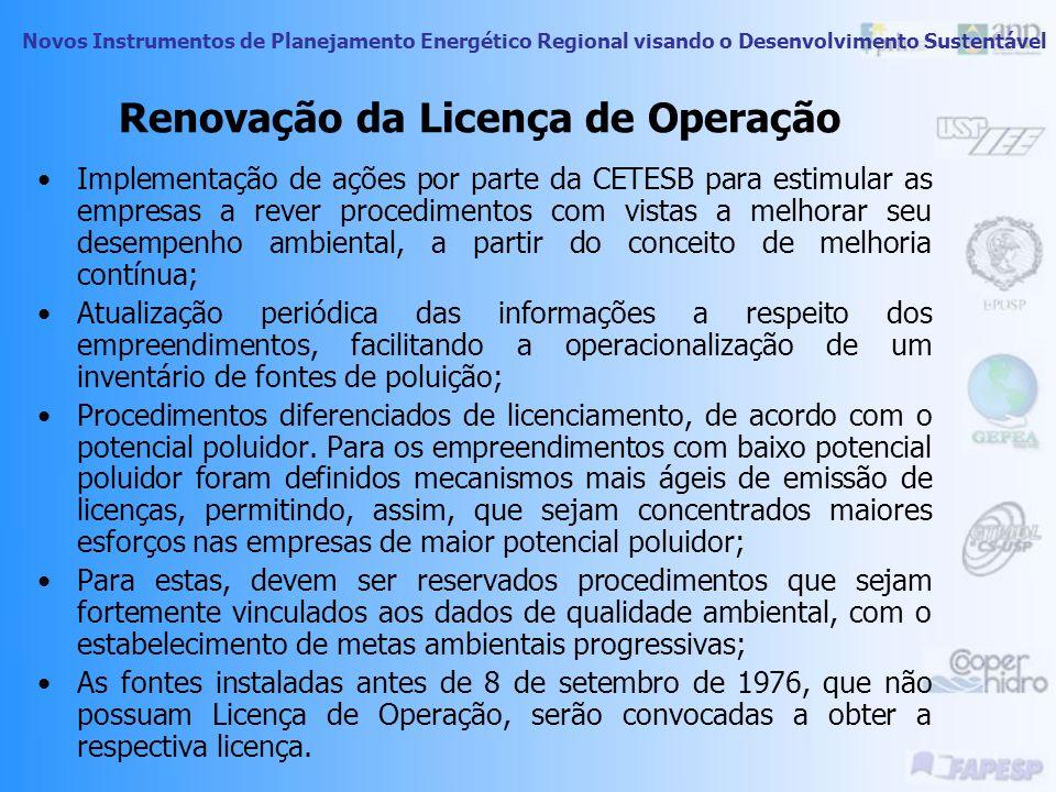 Novos Instrumentos de Planejamento Energético Regional visando o Desenvolvimento Sustentável Decorrido os prazos mencionados as Licenças de Operação n