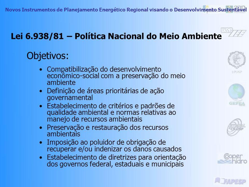 Lei 6.938/81 – Política Nacional do Meio Ambiente Princípios Ação governamental Planejamento, racionalização e fiscalização do uso dos recursos ambien