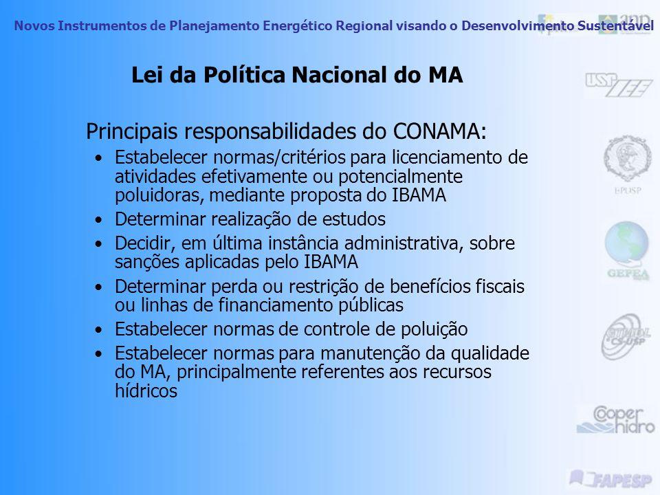 Novos Instrumentos de Planejamento Energético Regional visando o Desenvolvimento Sustentável Lei da Política Nacional do MA Sistema Nacional do MA – S