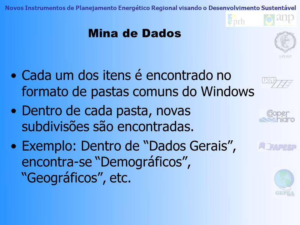 Novos Instrumentos de Planejamento Energético Regional visando o Desenvolvimento Sustentável Mina de Dados Cada um dos itens é encontrado no formato de pastas comuns do Windows Dentro de cada pasta, novas subdivisões são encontradas.