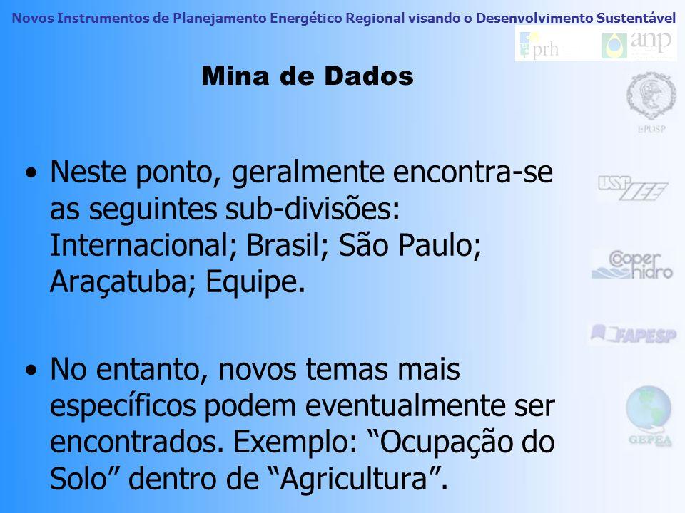 Novos Instrumentos de Planejamento Energético Regional visando o Desenvolvimento Sustentável Mina de Dados Neste ponto, geralmente encontra-se as seguintes sub-divisões: Internacional; Brasil; São Paulo; Araçatuba; Equipe.