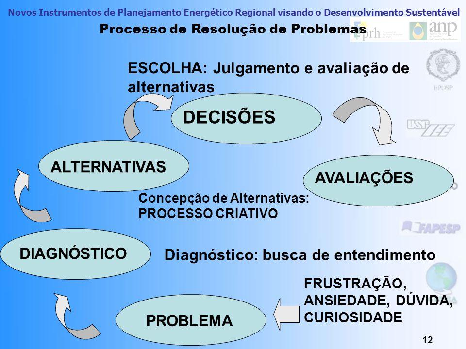 Novos Instrumentos de Planejamento Energético Regional visando o Desenvolvimento Sustentável 12 Processo de Resolução de Problemas PROBLEMA DIAGNÓSTIC