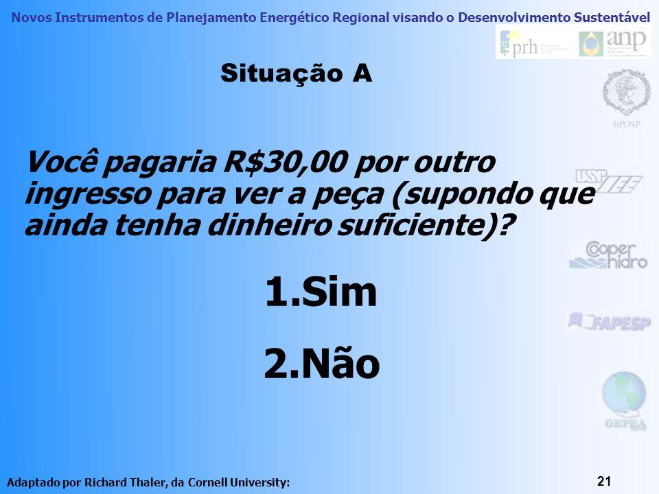 Novos Instrumentos de Planejamento Energético Regional visando o Desenvolvimento Sustentável 21 Você pagaria R$30,00 por outro ingresso para ver a peç