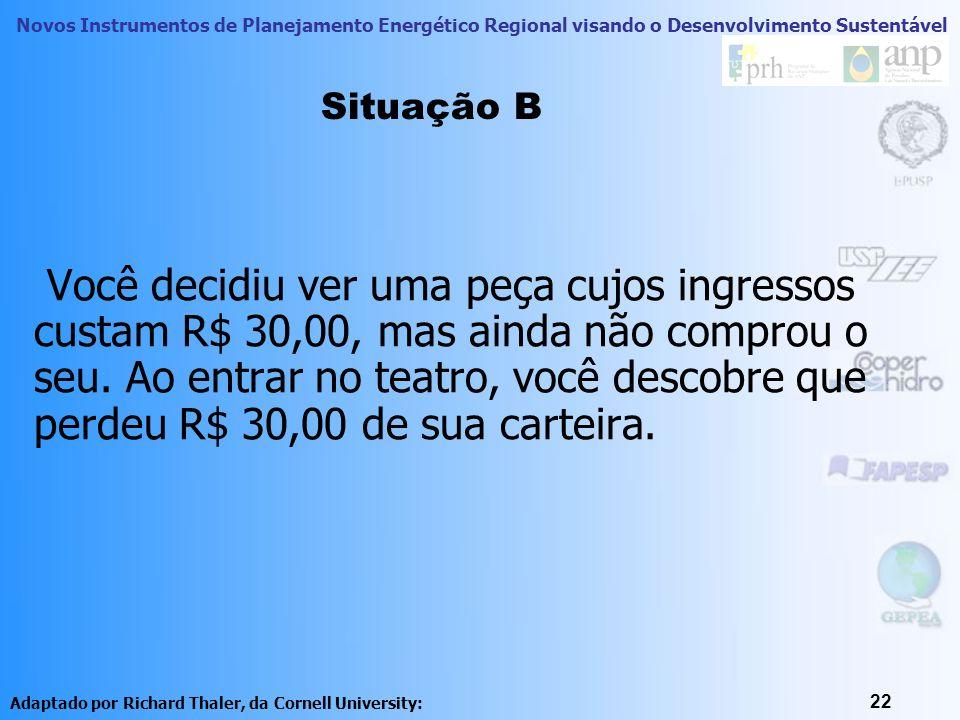 Novos Instrumentos de Planejamento Energético Regional visando o Desenvolvimento Sustentável 22 Você decidiu ver uma peça cujos ingressos custam R$ 30