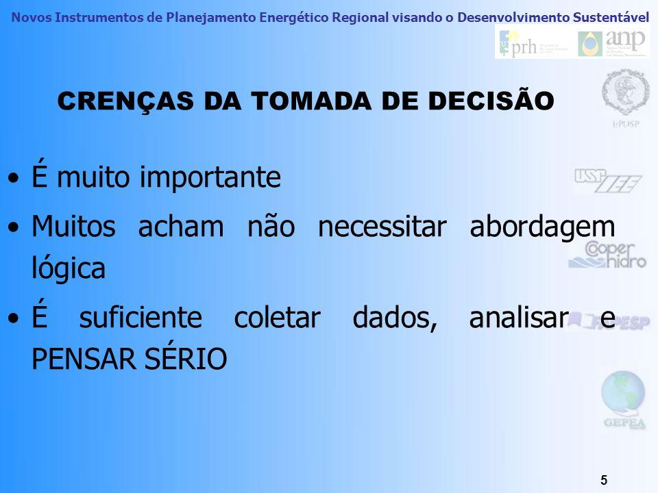 Novos Instrumentos de Planejamento Energético Regional visando o Desenvolvimento Sustentável 5 CRENÇAS DA TOMADA DE DECISÃO É muito importante Muitos