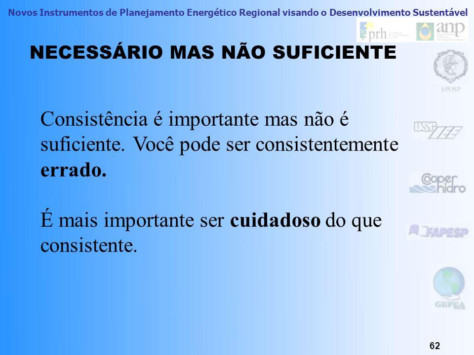 Novos Instrumentos de Planejamento Energético Regional visando o Desenvolvimento Sustentável 62 NECESSÁRIO MAS NÃO SUFICIENTE Consistência é important