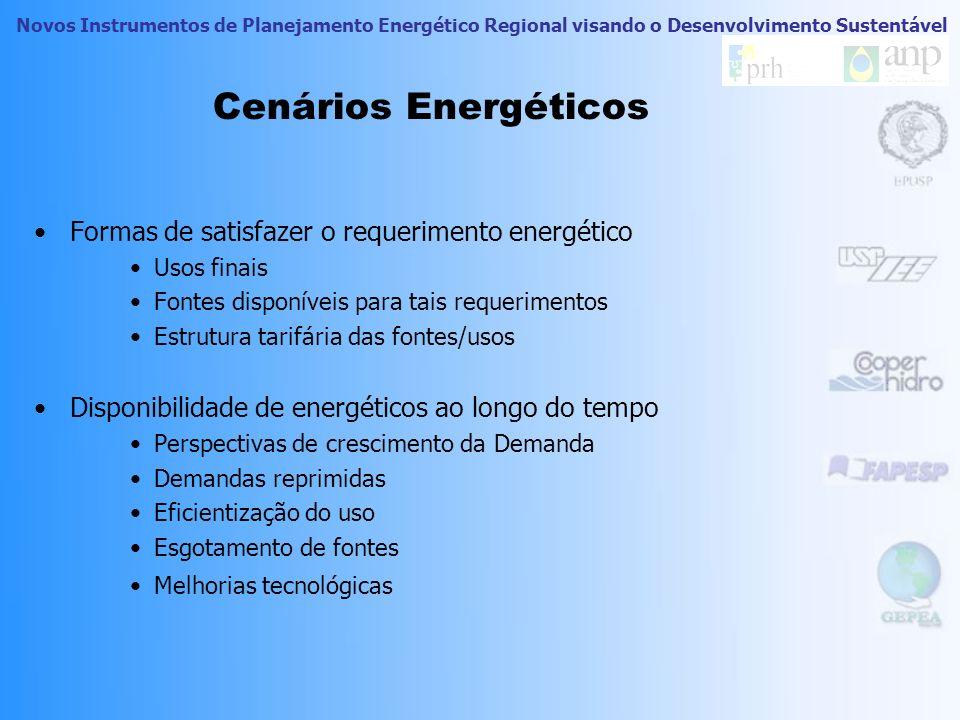 Novos Instrumentos de Planejamento Energético Regional visando o Desenvolvimento Sustentável Cenários Energéticos Mesmo cenário sócio-econômico, difer