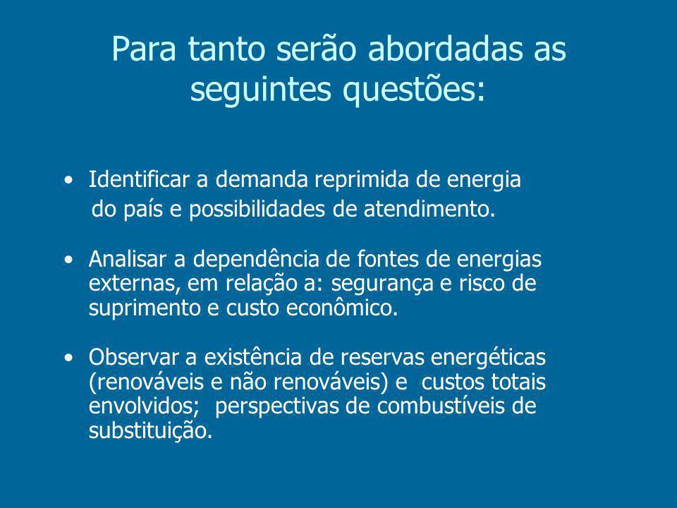 Para tanto serão abordadas as seguintes questões: Identificar a demanda reprimida de energia do país e possibilidades de atendimento.