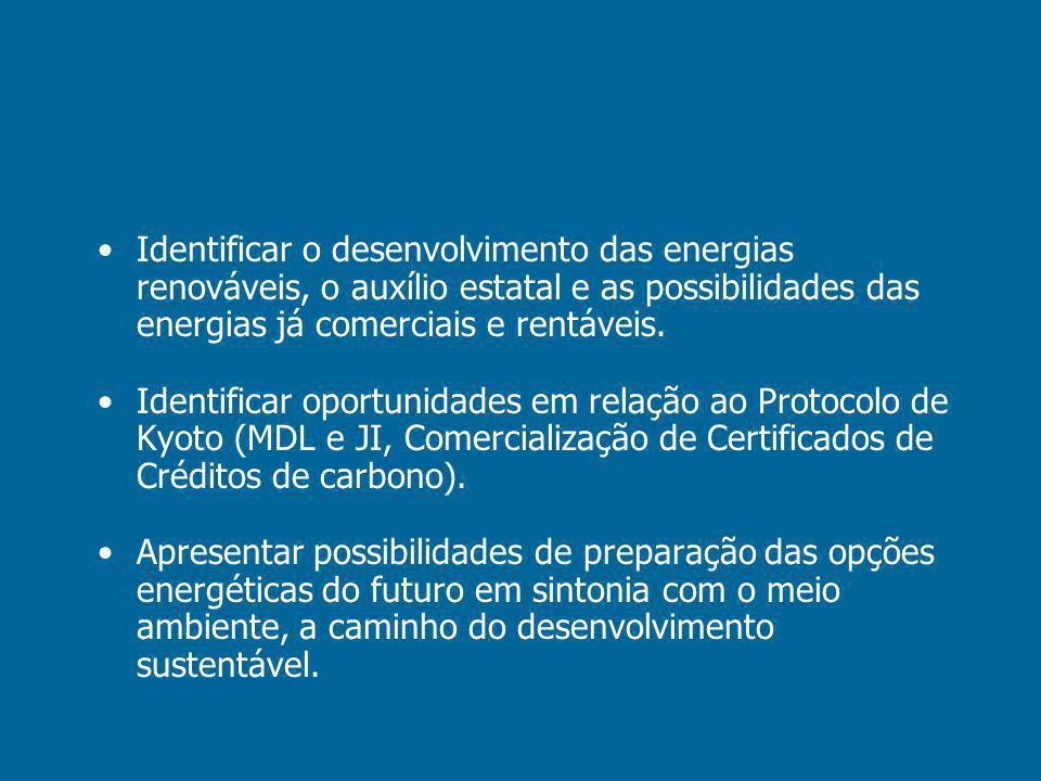 Identificar o desenvolvimento das energias renováveis, o auxílio estatal e as possibilidades das energias já comerciais e rentáveis.
