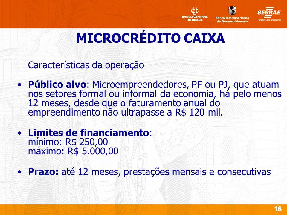 16 Características da operação Público alvo: Microempreendedores, PF ou PJ, que atuam nos setores formal ou informal da economia, há pelo menos 12 meses, desde que o faturamento anual do empreendimento não ultrapasse a R$ 120 mil.