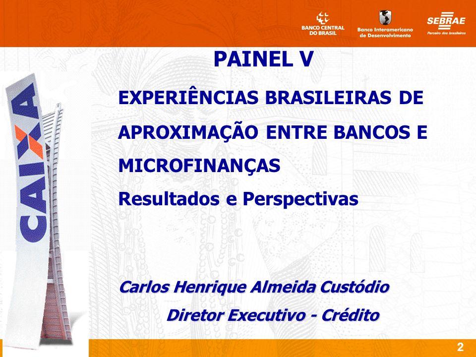 2 PAINEL V EXPERIÊNCIAS BRASILEIRAS DE APROXIMAÇÃO ENTRE BANCOS E MICROFINANÇAS Resultados e Perspectivas Carlos Henrique Almeida Custódio Diretor Executivo - Crédito
