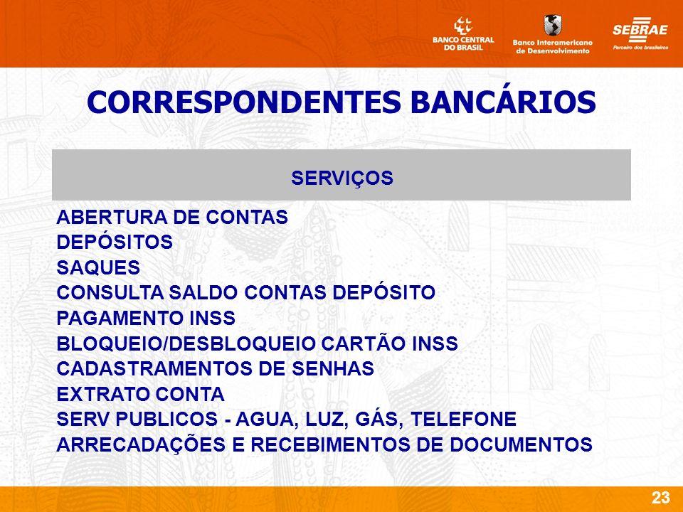 23 CORRESPONDENTES BANCÁRIOS ABERTURA DE CONTAS DEPÓSITOS SAQUES CONSULTA SALDO CONTAS DEPÓSITO PAGAMENTO INSS BLOQUEIO/DESBLOQUEIO CARTÃO INSS CADASTRAMENTOS DE SENHAS EXTRATO CONTA SERV PUBLICOS - AGUA, LUZ, GÁS, TELEFONE ARRECADAÇÕES E RECEBIMENTOS DE DOCUMENTOS SERVIÇOS