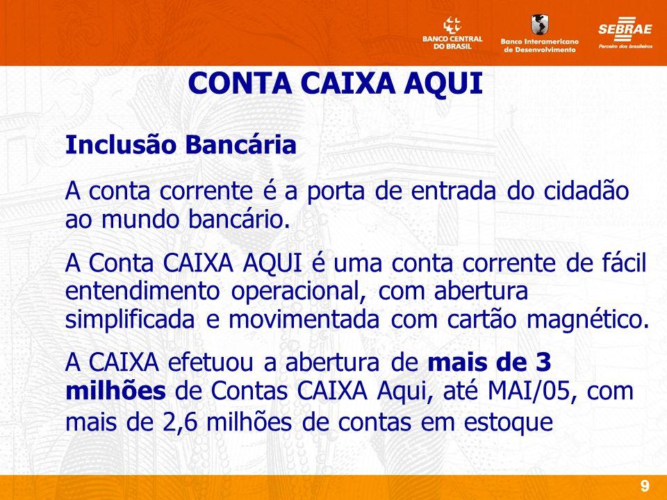 9 Inclusão Bancária A conta corrente é a porta de entrada do cidadão ao mundo bancário.