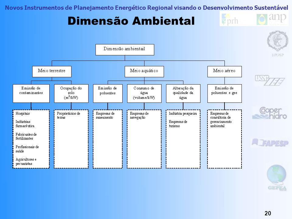 Novos Instrumentos de Planejamento Energético Regional visando o Desenvolvimento Sustentável 19 Dimensão Técnico-Econômica