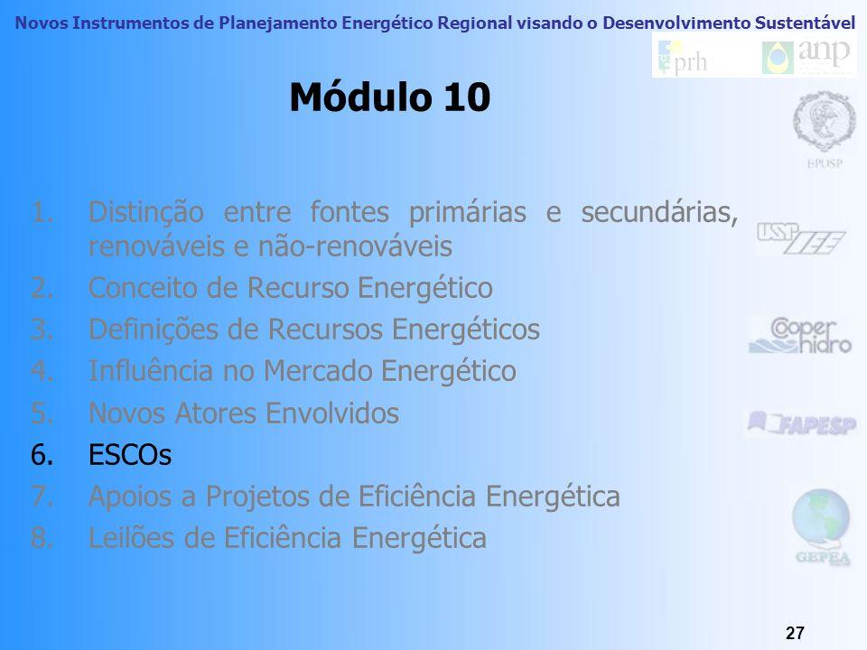 Novos Instrumentos de Planejamento Energético Regional visando o Desenvolvimento Sustentável 26 Exemplos de políticas públicas PROESCO Leilões de efic