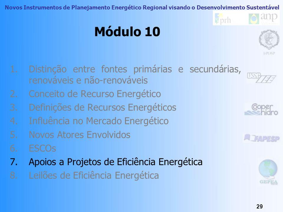 Novos Instrumentos de Planejamento Energético Regional visando o Desenvolvimento Sustentável 28 ESCOs Mercado de conservação de eficiência energética