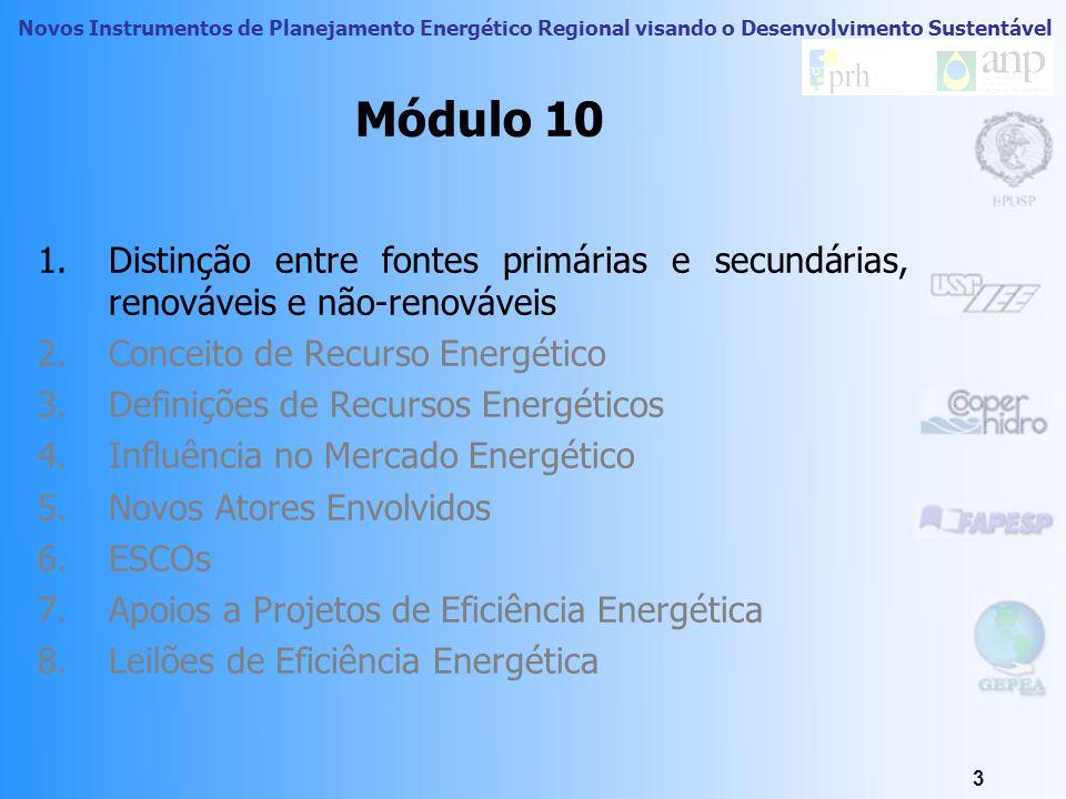 Novos Instrumentos de Planejamento Energético Regional visando o Desenvolvimento Sustentável 3 Módulo 10 1.Distinção entre fontes primárias e secundárias, renováveis e não-renováveis 2.Conceito de Recurso Energético 3.Definições de Recursos Energéticos 4.Influência no Mercado Energético 5.Novos Atores Envolvidos 6.ESCOs 7.Apoios a Projetos de Eficiência Energética 8.Leilões de Eficiência Energética