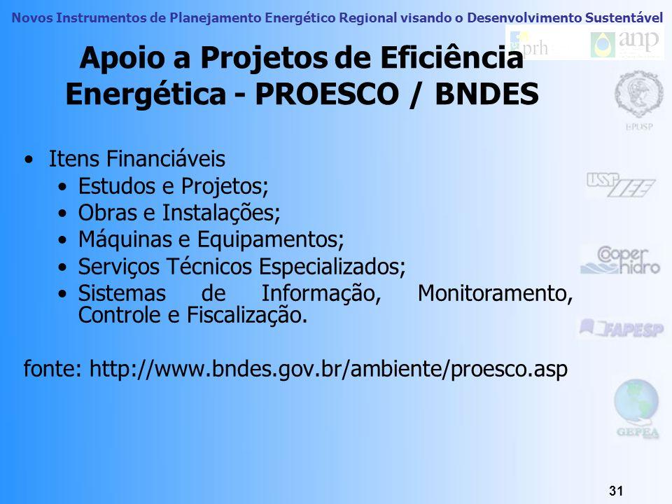 Novos Instrumentos de Planejamento Energético Regional visando o Desenvolvimento Sustentável 30 Apoio a Projetos de Eficiência Energética - PROESCO /