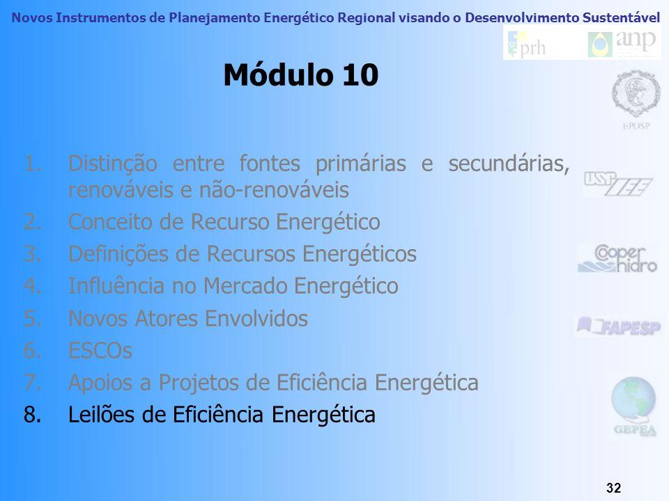 Novos Instrumentos de Planejamento Energético Regional visando o Desenvolvimento Sustentável 31 Apoio a Projetos de Eficiência Energética - PROESCO /