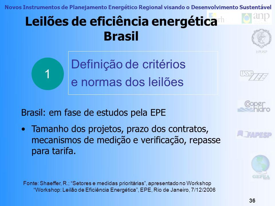 Novos Instrumentos de Planejamento Energético Regional visando o Desenvolvimento Sustentável 35 Leilões de eficiência energética exemplos 2 Metas de e