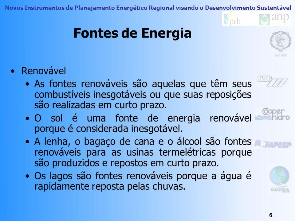 Novos Instrumentos de Planejamento Energético Regional visando o Desenvolvimento Sustentável 6 Fontes de Energia Renovável As fontes renováveis são aquelas que têm seus combustíveis inesgotáveis ou que suas reposições são realizadas em curto prazo.