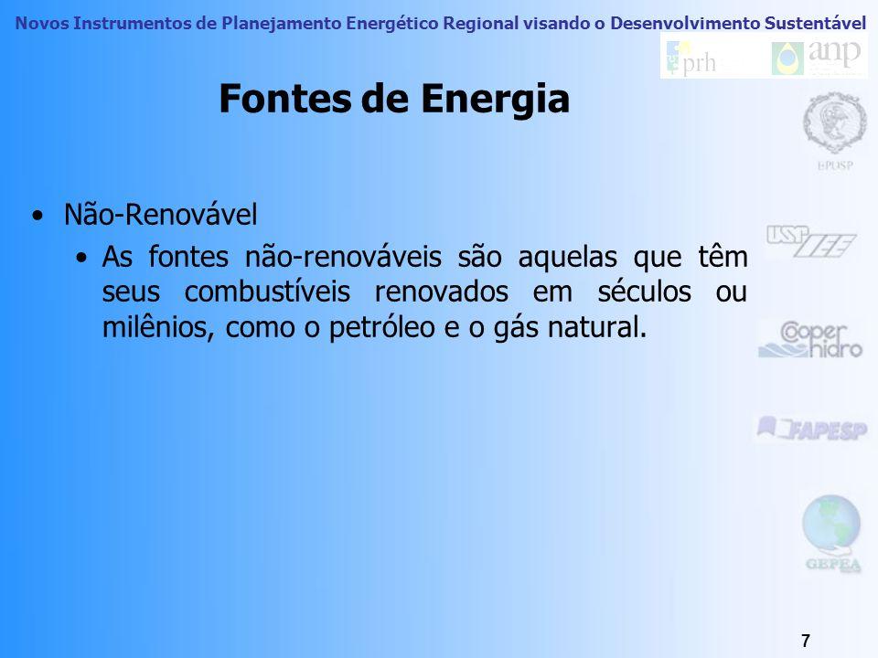 Novos Instrumentos de Planejamento Energético Regional visando o Desenvolvimento Sustentável 7 Fontes de Energia Não-Renovável As fontes não-renováveis são aquelas que têm seus combustíveis renovados em séculos ou milênios, como o petróleo e o gás natural.