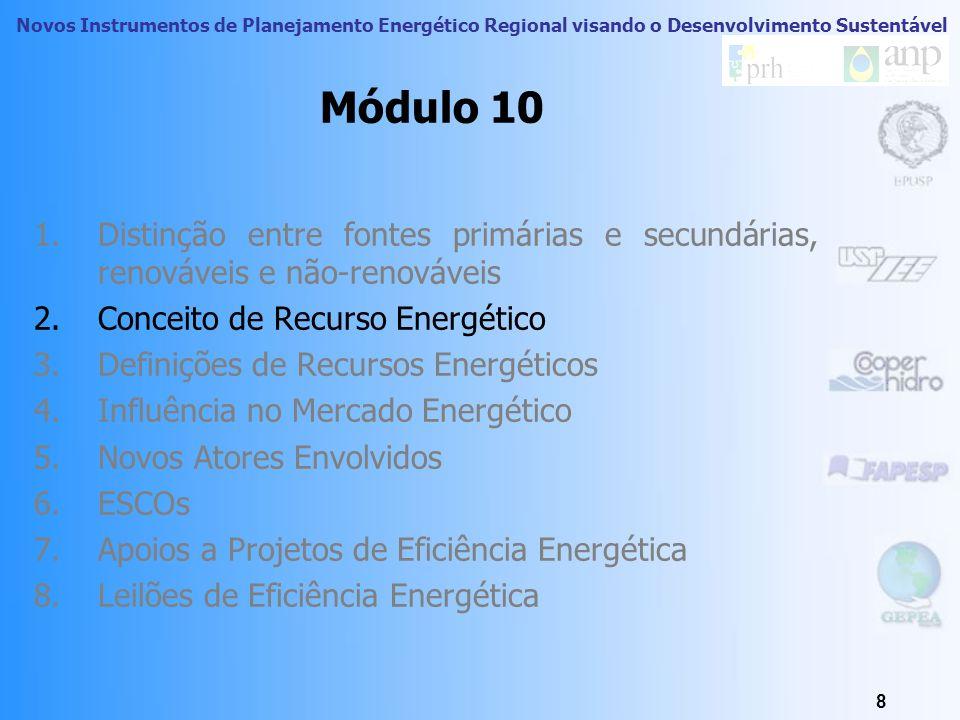 Novos Instrumentos de Planejamento Energético Regional visando o Desenvolvimento Sustentável 8 Módulo 10 1.Distinção entre fontes primárias e secundárias, renováveis e não-renováveis 2.Conceito de Recurso Energético 3.Definições de Recursos Energéticos 4.Influência no Mercado Energético 5.Novos Atores Envolvidos 6.ESCOs 7.Apoios a Projetos de Eficiência Energética 8.Leilões de Eficiência Energética