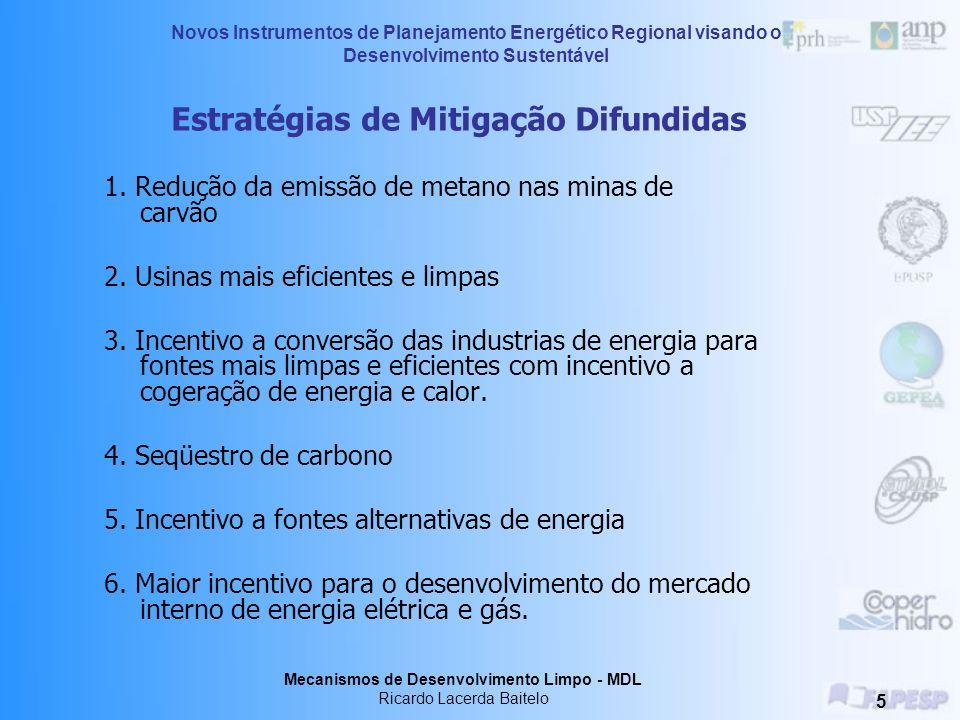 Novos Instrumentos de Planejamento Energético Regional visando o Desenvolvimento Sustentável Mecanismos de Desenvolvimento Limpo - MDL Ricardo Lacerda