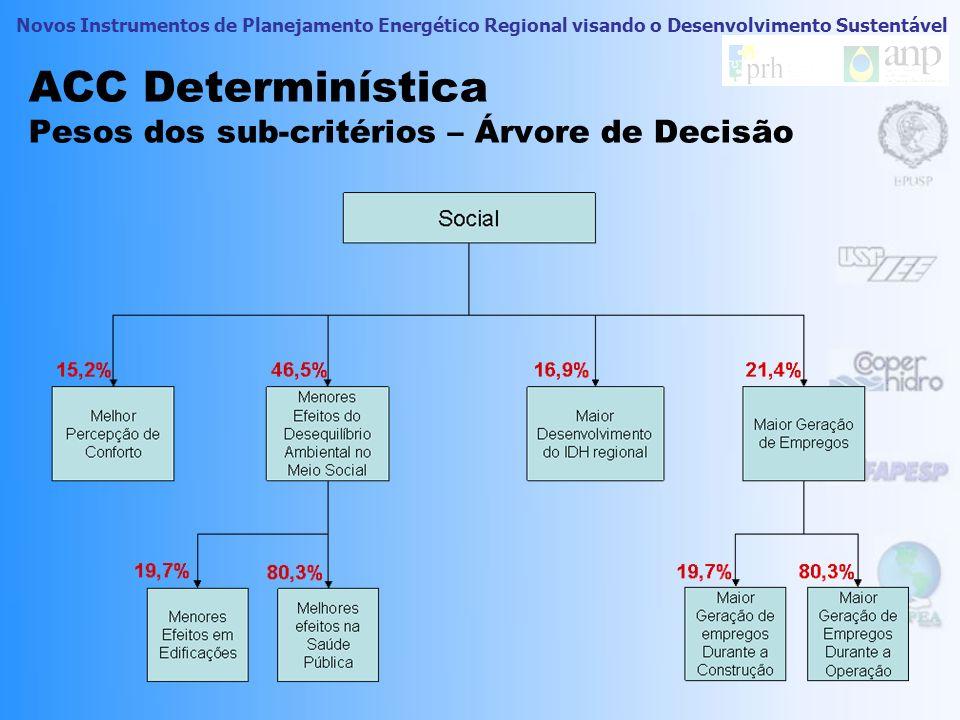 Novos Instrumentos de Planejamento Energético Regional visando o Desenvolvimento Sustentável ACC Determinística Pesos dos sub-critérios – Árvore de De