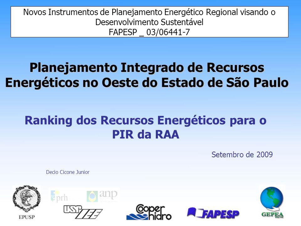 Novos Instrumentos de Planejamento Energético Regional visando o Desenvolvimento Sustentável Comparação das ACCs Rankings Conclusão dos Rankings –Coer