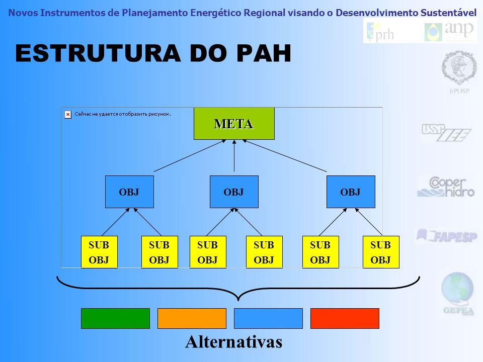 Novos Instrumentos de Planejamento Energético Regional visando o Desenvolvimento Sustentável Processo Analítico Hierárquico (PAH) O PAH foi proposto p