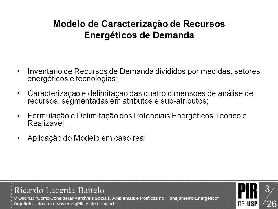 Ricardo Lacerda Baitelo V Oficina: Como Considerar Variáveis Sociais, Ambientais e Políticas no Planejamento Energético Arquitetura dos recursos energéticos de demanda 26 4 Modelo de Caracterização de Recursos Energéticos de Demanda