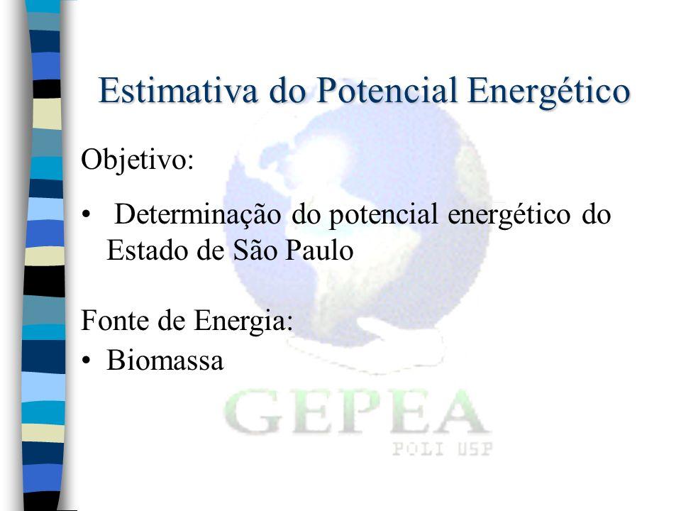 Estimativa do Potencial Energético Objetivo: Determinação do potencial energético do Estado de São Paulo Fonte de Energia: Biomassa